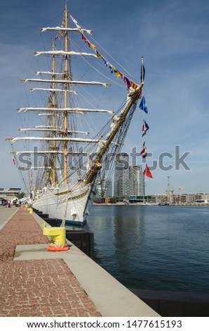GDYNIA, POMERANIAN REGION / POLAND - 2019: Brazilian CISNE BRANCO sailing ship at the representative port quay on Kosciuszko Square #1477615193