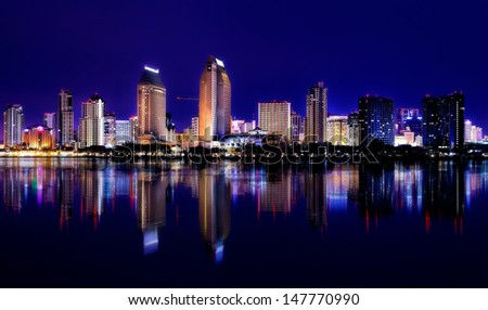 Downtown Cityscape with Buildings Reflecting, City of San Diego, California USA