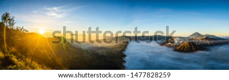 Mount Bromo with Sun Rise in Panorama at West Java, Indonesia #1477828259