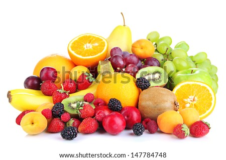 Fresh fruits and berries isolated on white #147784748