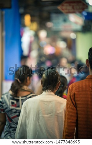April 07, 2019. Mumbai, India: The city market, the bazaar in Mumbai where thousand of people everyday are meeting the tourists for shopping and excursion. the summer can be very hot in India #1477848695