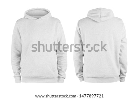 Men's white blank hoodie template,from two sides, natural shape on invisible mannequin, for your design mockup for print, isolated on white background #1477897721