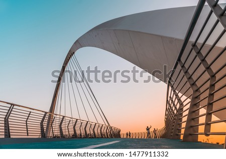 Water Canal Tolerance Bridge Travel and tourist attraction of Dubai, world Famous building architecture image #1477911332