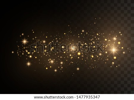 Christmas Abstract stylish light effect on a black  transparent background. Yellow dust yellow sparks and golden stars shine with special light. Vector sparkles   Sparkling magical dust particles. #1477935347