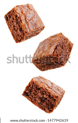 Chocolate brownie cake on a white isolated background. the toning. selective focus #1477942619
