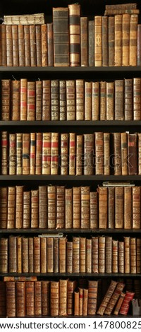 old books on wooden shelf #1478008256