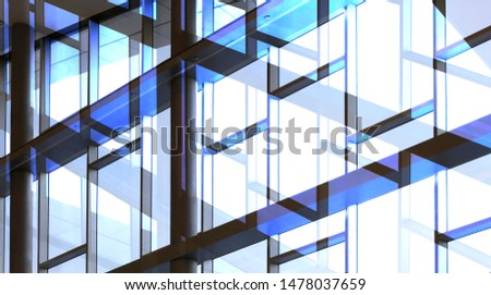 Glass walls with metal framework. Double exposure photo of office building exterior or interior fragment. Abstract modern architecture background with geometric structure of structural glazing. #1478037659