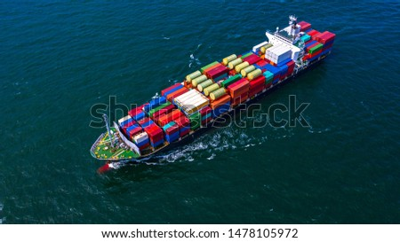 Container ship carrying container for business freight import and export, Aerial view container ship arriving in commercial port. #1478105972