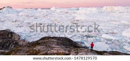 Global warming - Greenland Iceberg landscape of Ilulissat icefjord with giant icebergs. Icebergs from melting glacier. Arctic nature heavily affected by climate change. Person tourist looking at view #1478129570