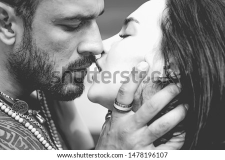 Sensual couple kiss. I Love You. Couple In Love. Romantic and love. Intimate relationship and sexual relations. Dominant man. Closeup mouths kissing. Passion and sensual touch. Black and white #1478196107