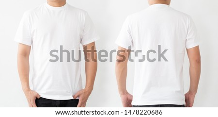 White T-Shirt front and back, Mockup template for design print #1478220686