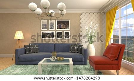 Interior of the living room. 3D illustration. #1478284298