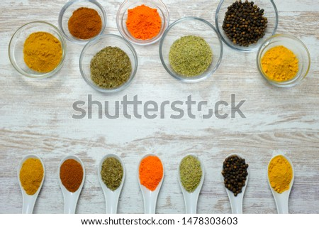 In this photo you can see different types of spices and food condiments of different colors. This photo was taken in August 2019. #1478303603