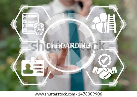 Businessman working on virtual touchscreen pressing onboarding word and calling by phone. Onboarding Process Business concept. #1478309906