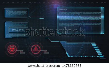 HUD, UI, GUI futuristic frame user interface screen elements set. Set with call outs communication. Abstract control panel layout design. Virtual hi Scifi technology gadget interface for game app #1478330735