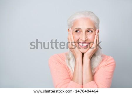 Close-up photo portrait of pretty nice optimistic granny having great idea isolated grey background #1478484464
