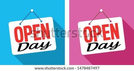 Open day on door sign hanging #1478487497