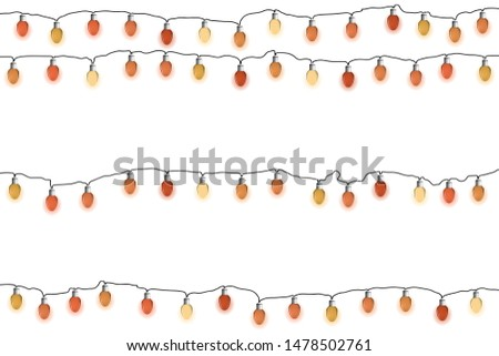 Glowing red Christmas garlands. Lights bulbs on white background. Vector illustrayion. New Year decorations. #1478502761