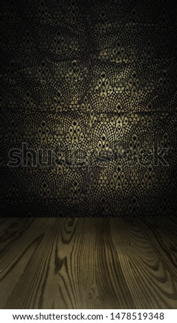 Dark backdrop with a wooden floor ready for a product photoshoot or a packshot
