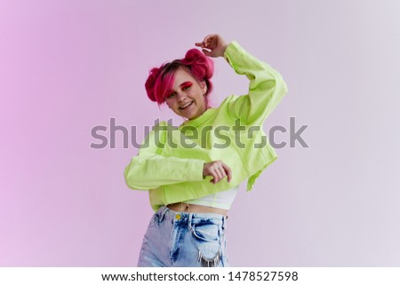 stylish young woman with pink hair studio fashion retro