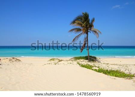 Cuba landscape. Caribbean beach Playa Megano in Playas del Este part of Havana Province. #1478560919
