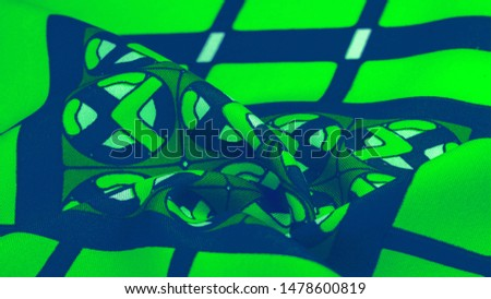 Background texture. silk bright fabric Mosaic geometric shapes Composition with colorful stained glass Grid design Illustration of green blue white olive colors #1478600819
