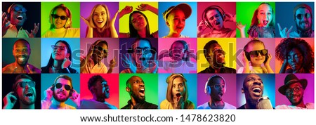 Beautiful people portrait isolated on bright neon light backgroud. Young, smiling, surprised, screaming. Human emotions, facial expression. Creative collage made of different photos of 12 models. #1478623820