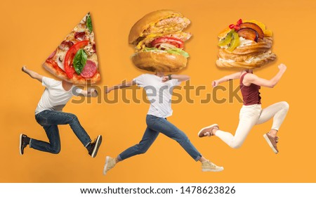 Fast food. Young caucasian people headed by pizza's slice and burgers or sandwiches running and jumping on orange background. Copyspace for your ad. Creative collage about nutrition. #1478623826