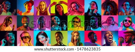 Beautiful male and female portrait on multicolored neon light backgroud. Smiling, surprised, screaming, dance. Human emotions, facial expression. Creative collage made of different photos of 14 models #1478623835