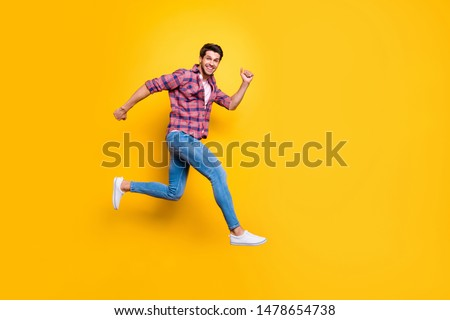 Full length body size photo of overjoyed man managing to run away from his problems while isolated with vivid background #1478654738