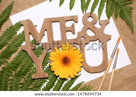 "Wooden sign ""Me&You"". Creative artistic concept."