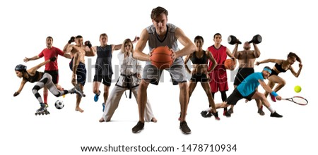 Sport collage. Running, soccer, fitness, bodybuilding, tennis, fighter and basketball players. Mixed image. On white background #1478710934