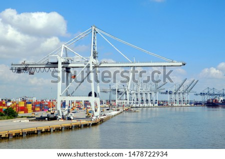 Port landscape with a gantry cranes in the port of Savannah, Georgia.  #1478722934