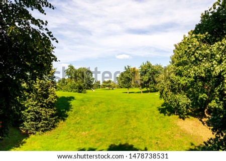 green city park during a sunny day , place of urban rest for citizens in a holiday with fine weather #1478738531