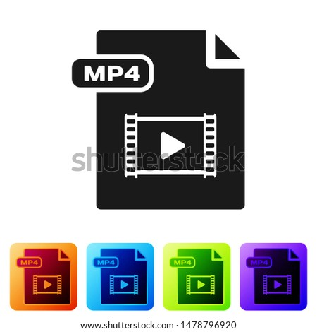 Black MP4 file document. Download mp4 button icon isolated on white background. MP4 file symbol. Set icons in color square buttons. Vector Illustration