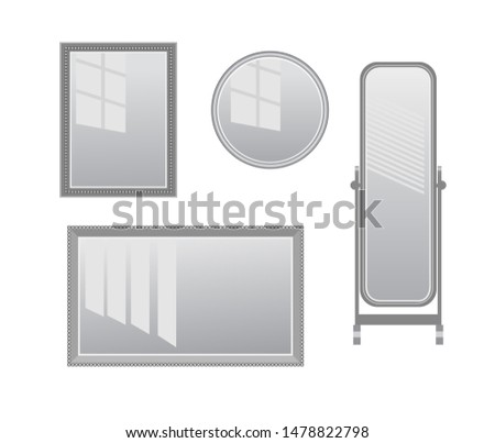 Vector set of realistic mirrors with reflection in mirror glass. Can be used as background and as interior objects. Isolated on white background #1478822798