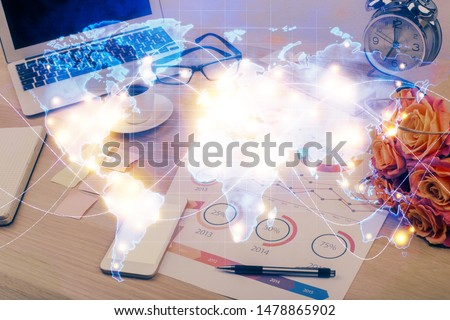Double exposure of business theme icons and work space with computer background. Concept of success. #1478865902