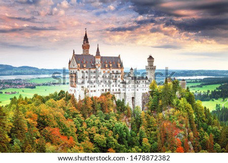 Neuschwanstein castle - summer landscape panorama picture of the fairy tale castle near Munich in Bavaria, Germany