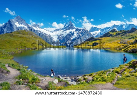 Sunset  view on Bernese range above Bachalpsee lake. Popular tourist attraction. Location place Switzerland alps, Grindelwald valley, Europe.  #1478872430
