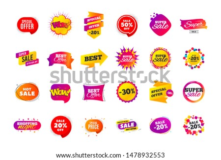 Sale banner badge. Special offer discount tags. Coupon shape templates design. Cyber monday sale discounts. Black friday shopping icons. Best ultimate offer badge. Super discount icons. Vector banners #1478932553