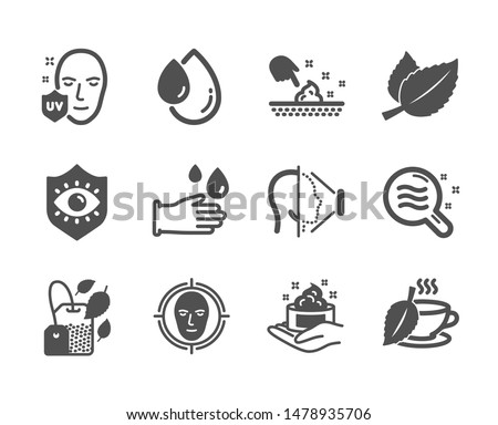 Set of Medical icons, such as Mint bag, Skin moisture, Oil drop, Uv protection, Mint tea, Rubber gloves, Skin condition, Face id, Eye protection, Face detect classic icons. Mint bag icon. Vector #1478935706