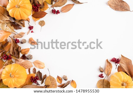 Autumn composition. blanket, autumn leaves and pumkin on white background. Flat lay, top view copy space. #1478955530