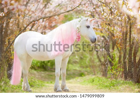 photo of a snow-white unicorn with a pink and white mane and tail in a spring flowering garden, a magical garden. #1479099809