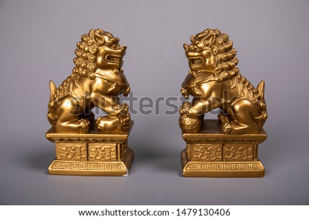 Gold Pixiu or Lion statue of China. Chinese good wealth animal. For Hi Resolution Picture.