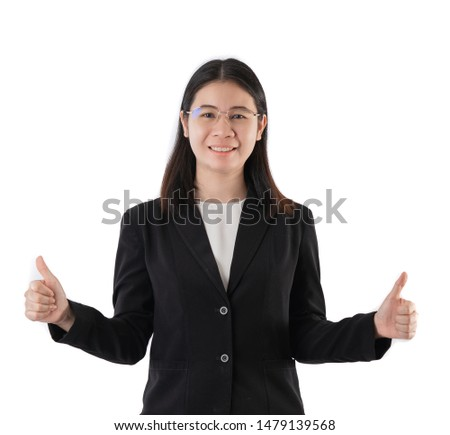 Happy smiling business woman with thumbs up gesture isolate and white background. #1479139568