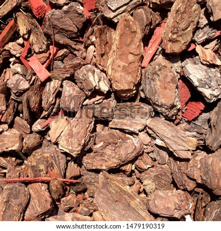 Macro photo pine wood bark nuggets. Image red brown wood bark chips texture background #1479190319