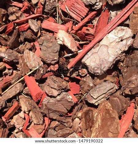 Macro photo pine wood bark nuggets. Image red brown wood bark chips texture background #1479190322