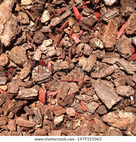 Macro photo pine wood bark nuggets. Image red brown wood bark chips texture background #1479191063