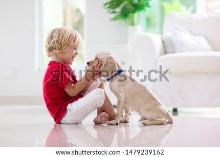 Child with baby dog. Kids play with puppy. Little boy and American cocker spaniel at couch. Pet at home. Animal care. #1479239162