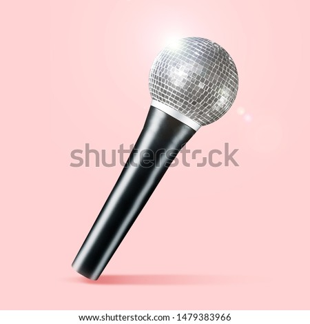 Talented singer, concept of brilliant voice. Microphone as a disco ball on coral background. Negative space to insert your text. Modern design. Contemporary art collage. Music, festival, show. #1479383966